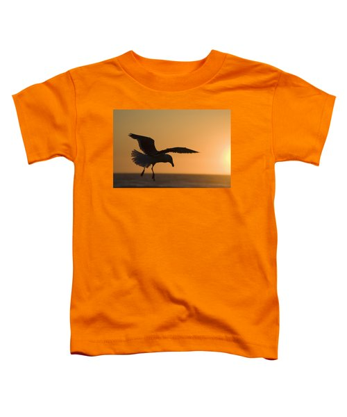 Silhouette Of A Seagull In Flight At Toddler T-Shirt