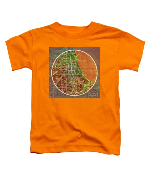 Chicago 1957 Old Map, Chicago Frank Lloyd Wright Quote Toddler T-Shirt