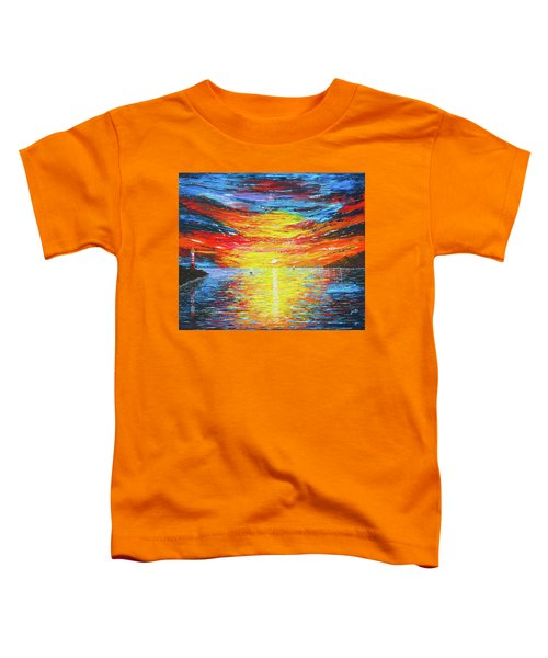 Toddler T-Shirt featuring the painting  Lighthouse Sunset Ocean View Palette Knife Original Painting by Georgeta Blanaru