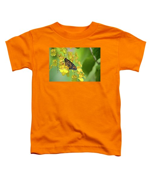 Monarch Butterfly On Yellow Orchids Toddler T-Shirt