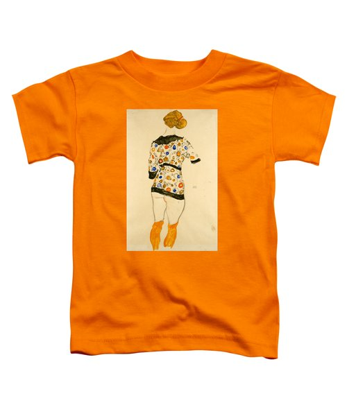 Standing Woman In A Patterned Blouse Toddler T-Shirt