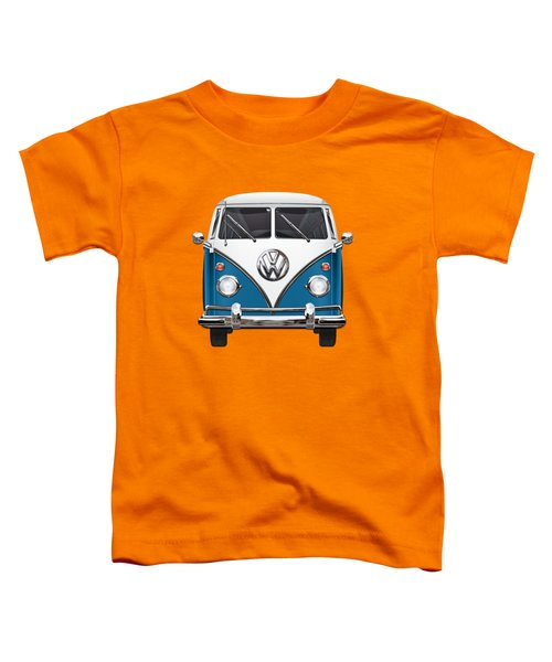 Volkswagen Type 2 - Blue And White Volkswagen T 1 Samba Bus Over Orange Canvas  Toddler T-Shirt by Serge Averbukh