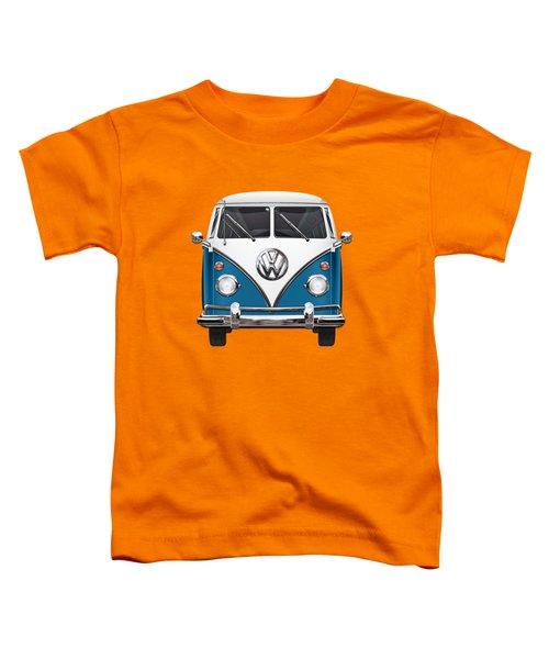 Volkswagen Type 2 - Blue And White Volkswagen T 1 Samba Bus Over Orange Canvas  Toddler T-Shirt