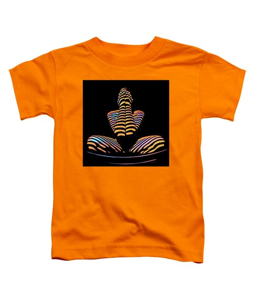 1183s-mak Hands Over Face Zebra Striped Woman Rendered In Composition Style Toddler T-Shirt