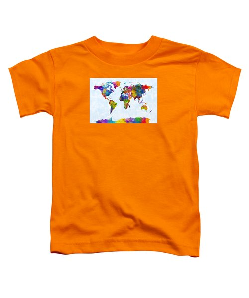 Watercolor Map Of The World Map Toddler T-Shirt