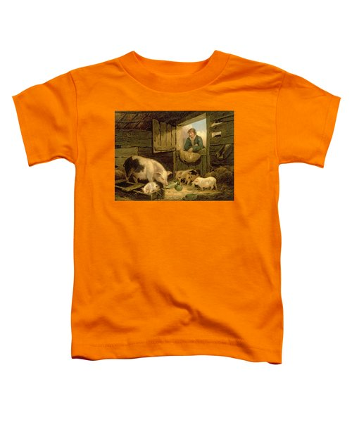 A Boy Looking Into A Pig Sty Toddler T-Shirt by George Morland