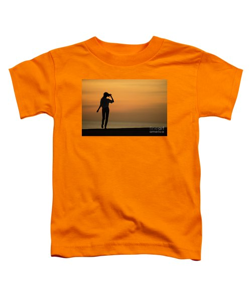 A Slim Woman Walking At Sunset Toddler T-Shirt
