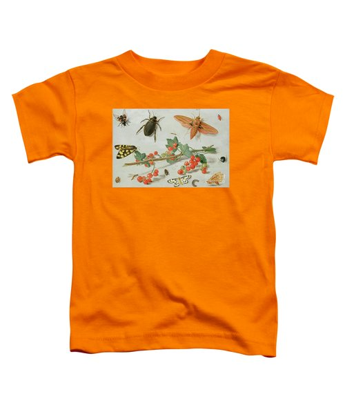 A Sprig Of Redcurrants With An Elephant Hawk Moth, A Magpie Moth And Other Insects, 1657 Toddler T-Shirt