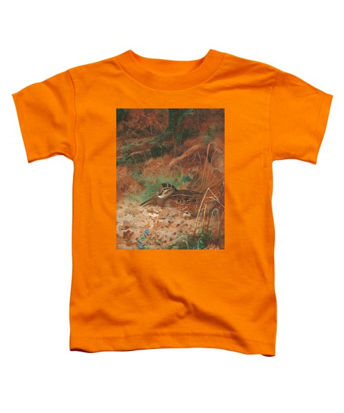A Woodcock And Chick In Undergrowth Toddler T-Shirt by Archibald Thorburn