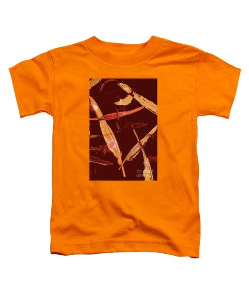 Abstract Feathers Falling On Brown Background Toddler T-Shirt