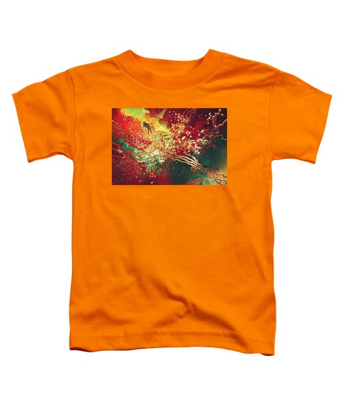 Toddler T-Shirt featuring the painting Abstract Space by Tithi Luadthong