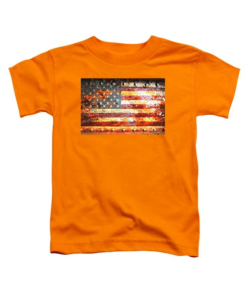 American Flag On Rusted Riveted Metal Door Toddler T-Shirt