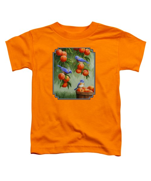 Bird Painting - Bluebirds And Peaches Toddler T-Shirt