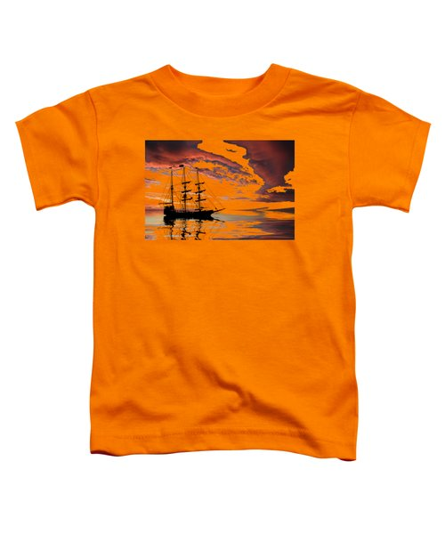 Pirate Ship At Sunset Toddler T-Shirt by Shane Bechler