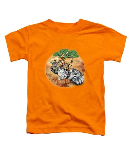 Cat In The Safari Hat Toddler T-Shirt by Carol Cavalaris