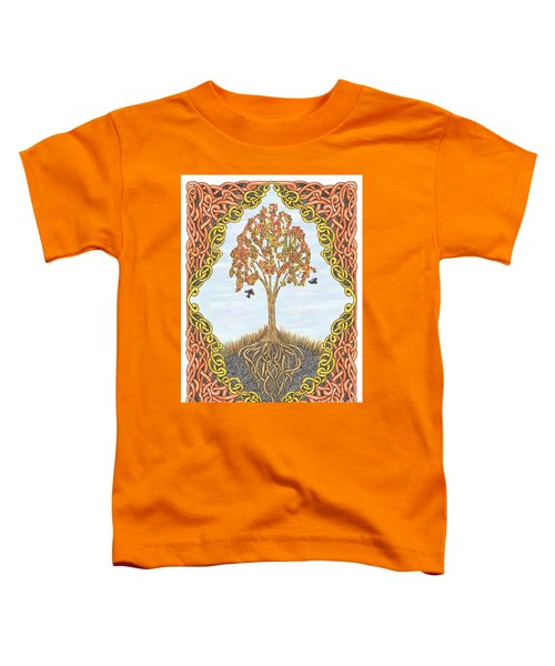 Autumn Tree With Knotted Roots And Knotted Border Toddler T-Shirt