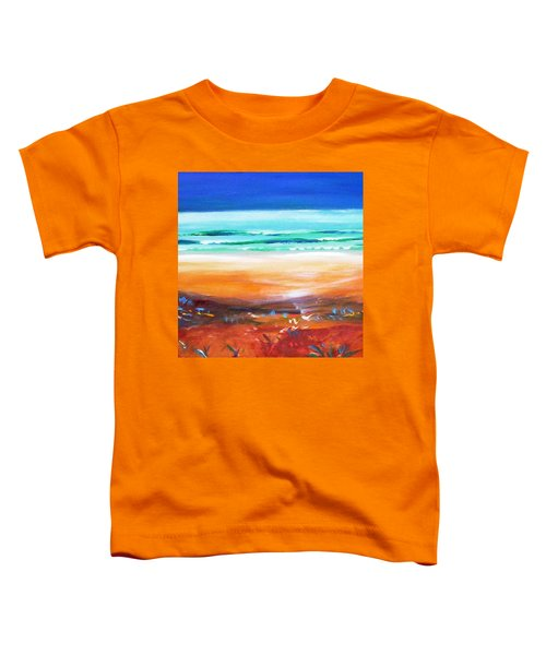 Toddler T-Shirt featuring the painting Beach Joy by Winsome Gunning