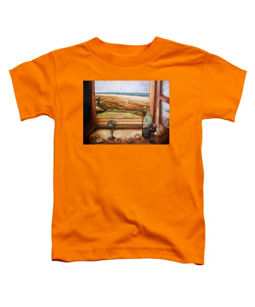 Toddler T-Shirt featuring the painting Beach Window by Winsome Gunning