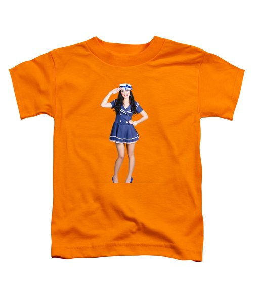 British Navy Blue Pin Up Girl Saluting Toddler T-Shirt