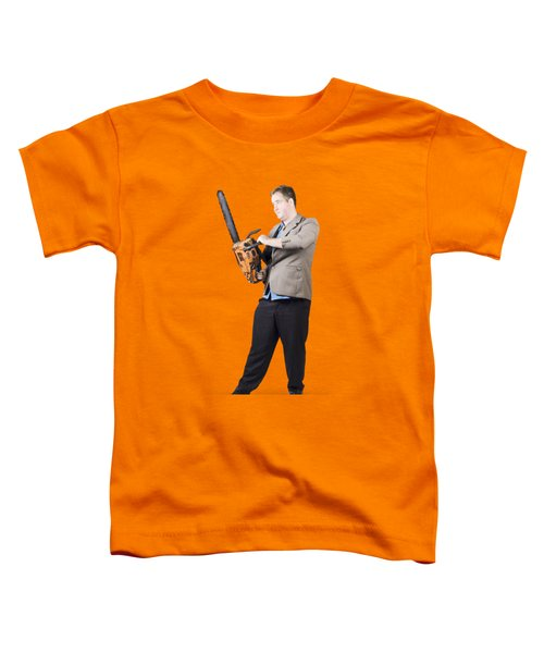 Toddler T-Shirt featuring the photograph Businessman Holding Portable Chainsaw by Jorgo Photography - Wall Art Gallery