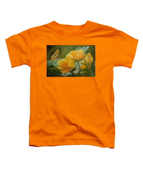 Butterfly Among Yellow Flowers Toddler T-Shirt