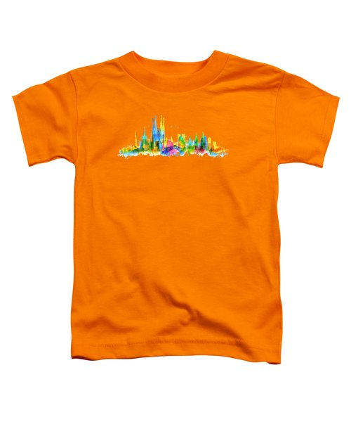 Color Barcelona Skyline 01 Toddler T-Shirt by Aloke Creative Store
