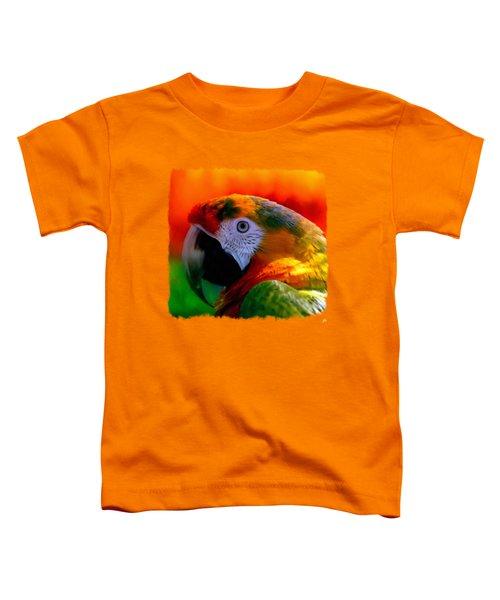Colorful Macaw Parrot Toddler T-Shirt by Linda Koelbel