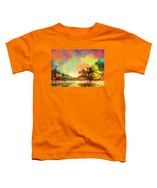 Toddler T-Shirt featuring the painting Colorful Natural by Tithi Luadthong