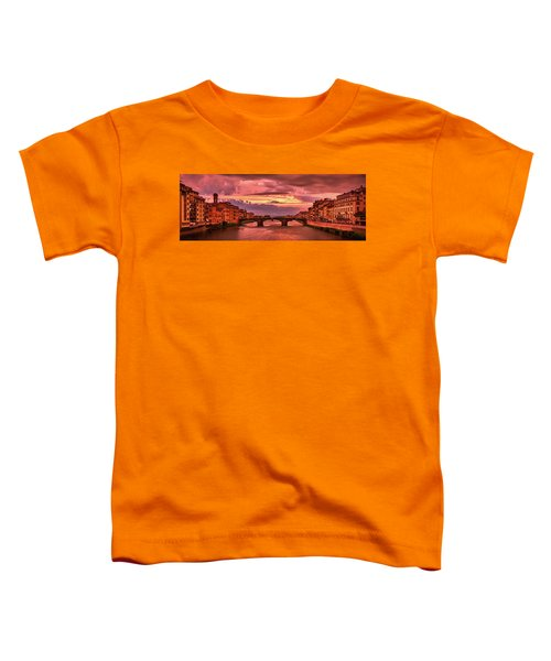 Saint Trinity Bridge From Ponte Vecchio At Red Sunset In Florence, Italy Toddler T-Shirt