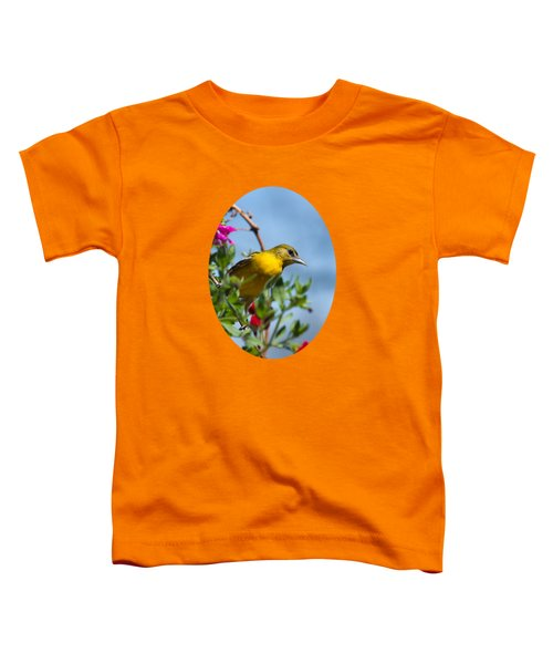 Female Baltimore Oriole In A Flower Basket Toddler T-Shirt by Christina Rollo