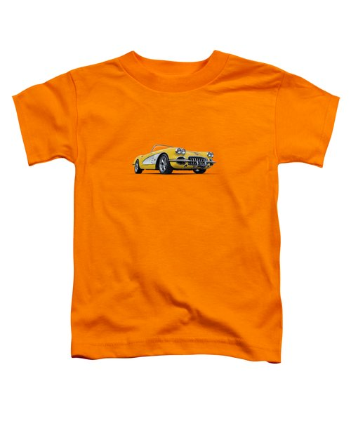 1960 Yellow And White Corvette Convertible Toddler T-Shirt