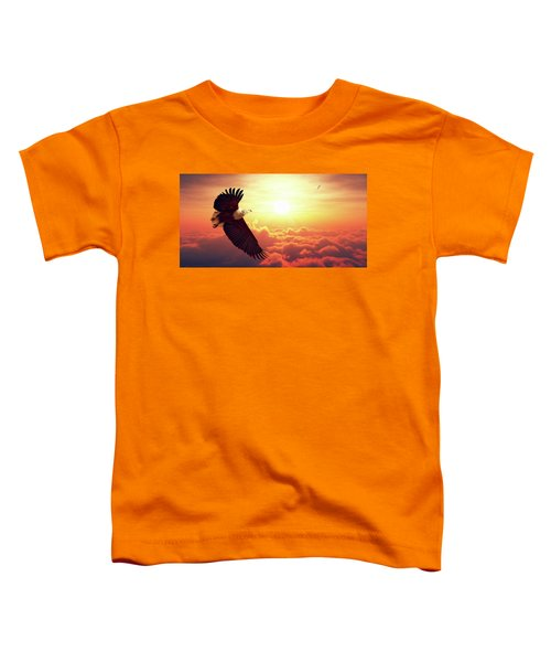 Fish Eagle Flying Above Clouds Toddler T-Shirt