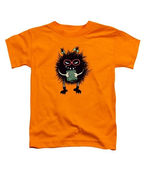 Geek Evil Bug Character Loves Reading Toddler T-Shirt