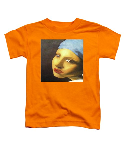 Toddler T-Shirt featuring the painting Girl With Pearl Earring Face by Jayvon Thomas