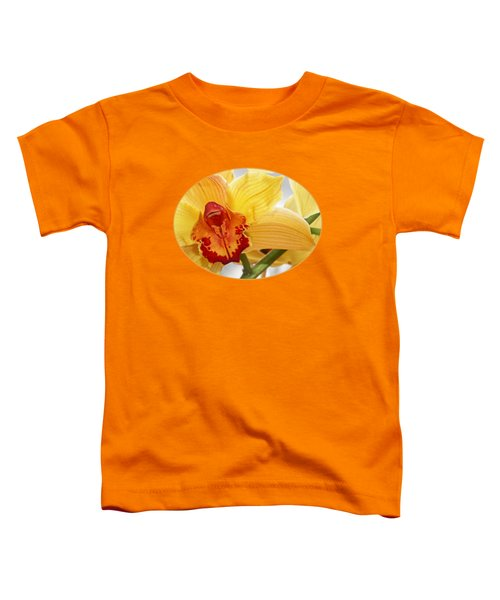 Golden Cymbidium Orchid Toddler T-Shirt by Gill Billington