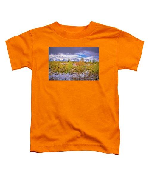 Grand Teton Fall Snowfall Toddler T-Shirt