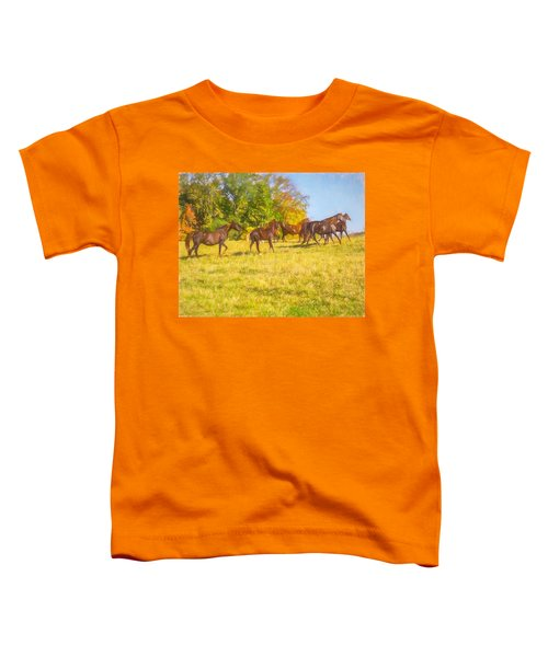 Group Of Morgan Horses Trotting Through Autumn Pasture. Toddler T-Shirt