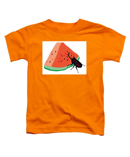 Horn Beetle Is Eating A Piece Of Red Watermelon Toddler T-Shirt