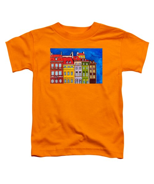 Toddler T-Shirt featuring the painting Houses In The Oldtown Of Warsaw by Dora Hathazi Mendes