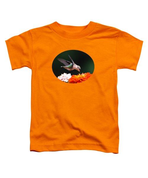 Hummingbird In Flight With Orange Zinnia Flower Toddler T-Shirt