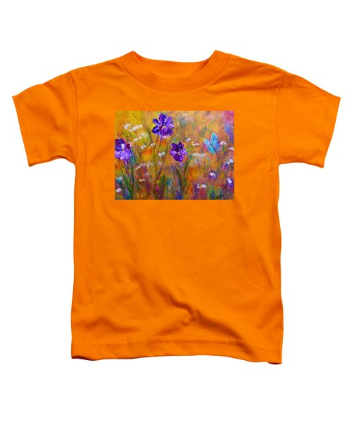 Iris Wildflowers And Butterfly Toddler T-Shirt
