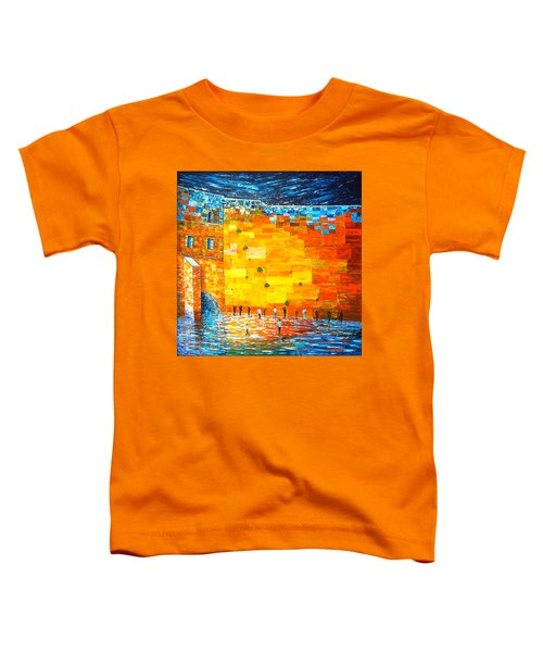 Toddler T-Shirt featuring the painting Jerusalem Wailing Wall Original Acrylic Palette Knife Painting by Georgeta Blanaru