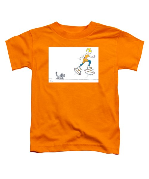 Kangoo Jumps Bouncy Shoes Walking The Dog Keep Fit Cartoon Toddler T-Shirt