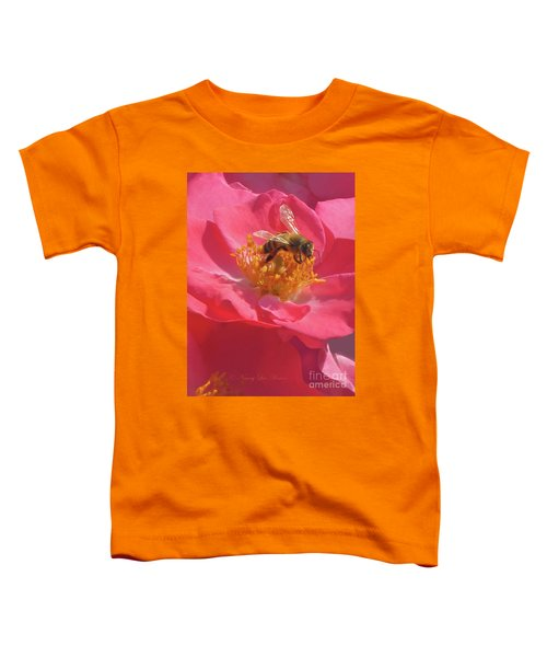 Luscious Rose With A Bee Toddler T-Shirt