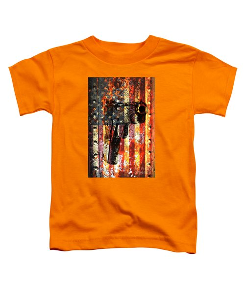 M1911 Silhouette On Rusted American Flag Toddler T-Shirt
