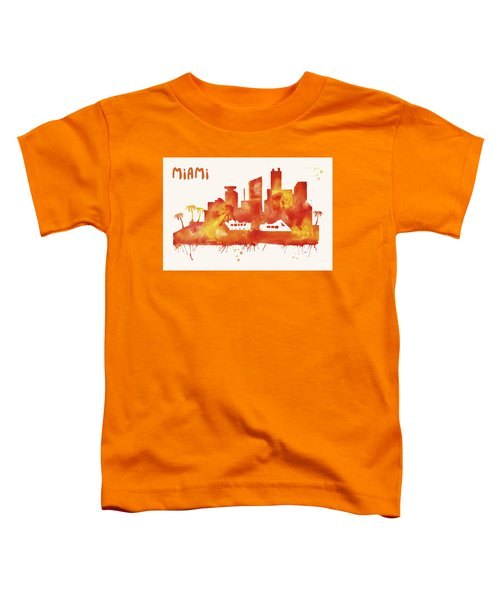 Miami Skyline Watercolor Poster - Cityscape Painting Artwork Toddler T-Shirt by Beautify My Walls