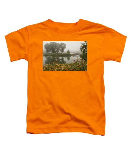 Misty Pond Bridge Reflection #3 Toddler T-Shirt