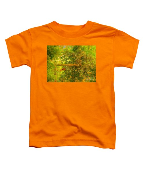 Misty Yellow Hue- Ringed Kingfisher In Flight Toddler T-Shirt