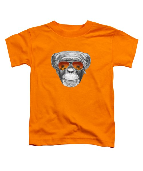 Monkey With Mirror Sunglasses Toddler T-Shirt by Marco Sousa