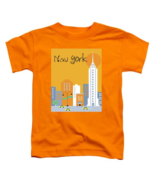 New York City Vertical Skyline - Empire State At Dawn Toddler T-Shirt